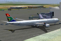 Screenshot of SAA Airbus A340-600 on the ground.
