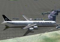 Screenshot of SAA Airbus A340-600 at boarding gate.