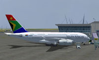 Screenshot of SAA Airbus A380-800 on the ground.