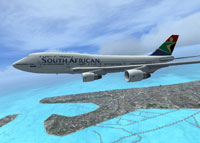 Screenshot of SAA Boeing 747-400 in flight.
