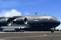 Screenshot of SAAF Globemaster 1430 taxiing to runway.