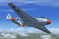 Screenshot of SAAF de Havilland Vampire FB5 in flight.