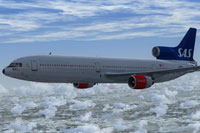 Screenshot of SAS Airlines Lockheed L-1011-F TriStar in flight.