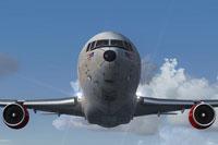Front view of SAS Cargo Lockheed L-1011-F TriStar in flight.