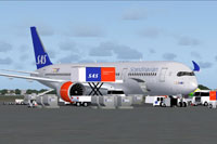Screenshot of SAS Scandinavian Airbus A350-900 and ground services.