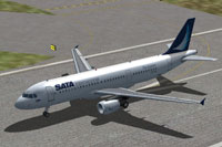 Screenshot of SATA Internacional Airbus A320 on runway.