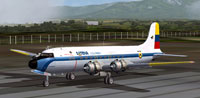 SATENA Colombia DC-4 on runway.