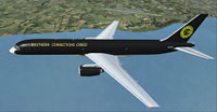 Screenshot of SCVA Boeing 757-200SF in flight.