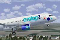 Screenshot of SL Evelop Airbus A320 taking off.
