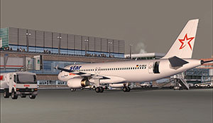 Star Airlines Airbus A320 in FS2004 at gate.