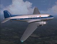 Screenshot of Sabena Douglas DC-3 in flight.
