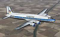 Screenshot of Sabena Douglas DC-4 OO-GBF in flight.