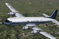Screenshot of Sabena Douglas DC-6B in flight.