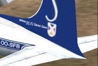 Screenshot of corrected textures on Sabena Douglas DC-7C.