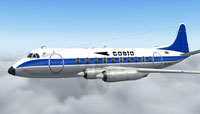 Screenshot of Saeta Air Ecuador Vickers Viscount in flight.