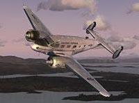 Screenshot of Saguenay Express Beechcraft D18S in flight.