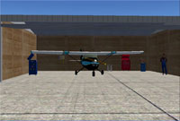 Screenshot of plane in hangar.