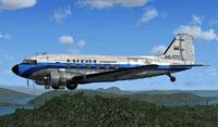 Side view of Satena Colombia Douglas C-47 in flight.