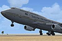 Screenshot of Saudi Arabian Airlines 747-468 taking off.