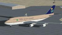 Screenshot of Saudia Boeing 747-400 on the ground.