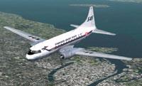 Screenshot of Scandinavian Airlines System DC-7C in flight.