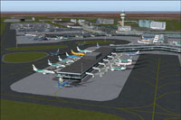 Aerial view of Schiphol Int'l Airport.