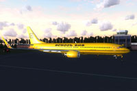 "Screenshot of ""Schoolbus"" Boeing 737-900 WL on the ground."