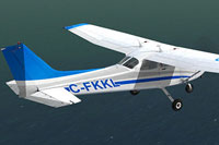 Screenshot of Schooner Airlines Cessna C172 C-FKKL in flight.