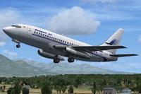 Screenshot of Sempati Air Boeing 737-200 taking off.