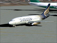 Screenshot of Shaheen Air International 737-200 on the ground.