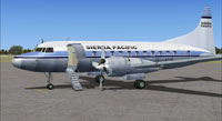 Front left view of Sierra Pacific Convair 580 on the ground.
