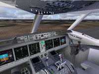 Screenshot of MD-11 virtual cockpit.