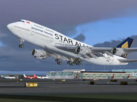 Screenshot of Singapore Airlines Boeing 747-412 taking off.