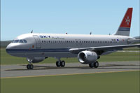 Screenshot of Sky Airline Airbus A320-233 on runway.