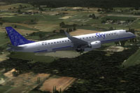 Screenshot of SkyWays Embraer E-190 in flight.