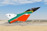 """Screenshot of SAAF Mirage III BZ """"Skydancer"""" in flight."""