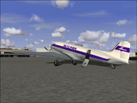 Screenshot of Skyliner VA Douglas DC-3 on the ground.