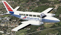 Screenshot of Skytrans Cessna 404 Titan in flight.