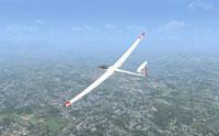 Screenshot of a gliding DG 808.
