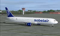 Screenshot of Sobelair Boeing 767-300ER on the ground.