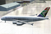 Screenshot of South African Airbus A380 on the ground.