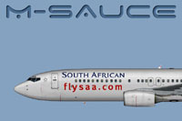 Side view of South African Airways Boeing B737-800W.