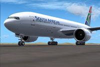 Screenshot of South African Boeing 777-200LR on the ground.