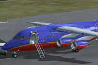 Screenshot of Southwest Airlines BAe 146-100 on the ground.