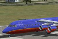 Screenshot of Southwest Airlines BAe 146-300 on runway.