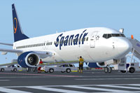 Screenshot of Spanair Boeing 737-800WL with ground services.