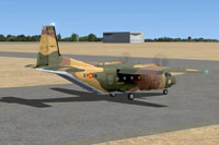 Screenshot of C212 Aviocar 37-18 Camo on runway.