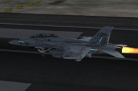 Screenshot of SAF EF-18B on runway.