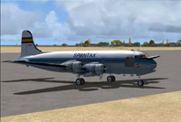 Screenshot of Spantax Douglas DC-4 54 on the ground.