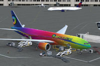 Screenshot of Spectrum Airlines Boeing 777-200LR on the ground.